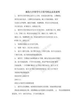 廊坊八中留学生日常考核记录表说明.doc