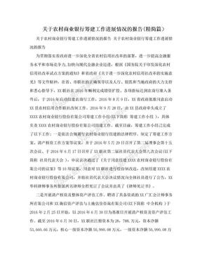 关于农村商业银行筹建工作进展情况的报告(精简篇).doc