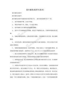 洗车服务承诺书(范本).doc