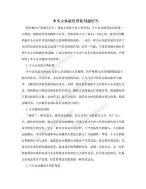 中小企业融资理论问题研究.doc