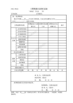 CB31附表l 工程价款月支付汇总表.doc