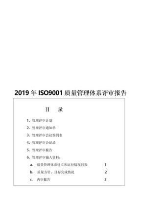 2019年ISO9001质量管理体系评审报告.doc