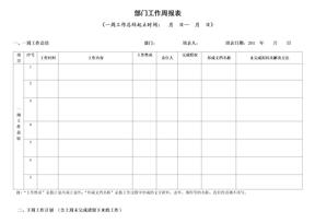 部门工作周报表(模板).doc