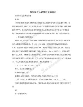 股权溢价之谜理论文献综述.doc