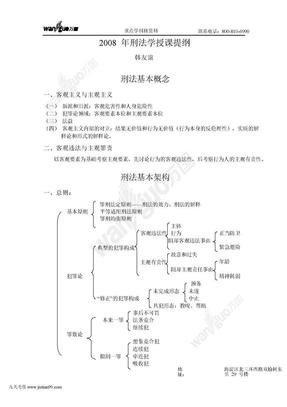 重点学科班刑法授课提纲(韩友谊)