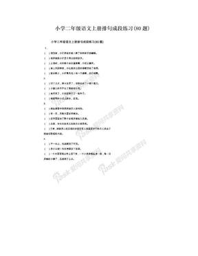 小学二年级语文上册排句成段练习(80题).doc