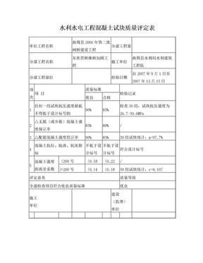 水利水电工程混凝土试块质量评定表.doc
