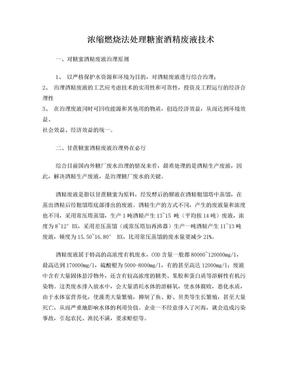 浓缩燃烧法处理糖蜜酒精废液技术.doc