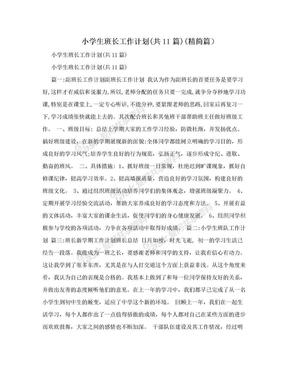 小学生班长工作计划(共11篇)(精简篇).doc