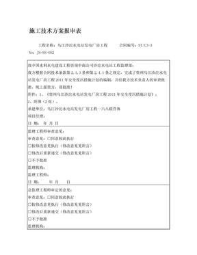 施工技术方案报审表052(厂房工程2011年安全度汛措施计划).doc