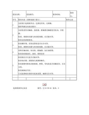 起重机保养记录表.doc