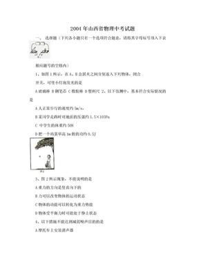 2004年山西省物理中考试题.doc