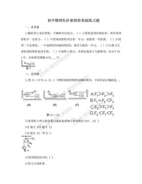 初中物理杠杆和滑轮基础练习题.doc