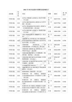 2011年SCI收录的中国期刊及影响因子.doc