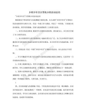 乡村少年宫计算机小组活动总结.doc
