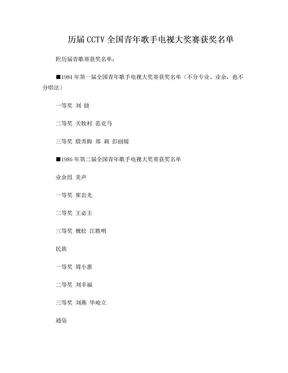 历届CCTV全国青年歌手电视大奖赛获奖名单.doc