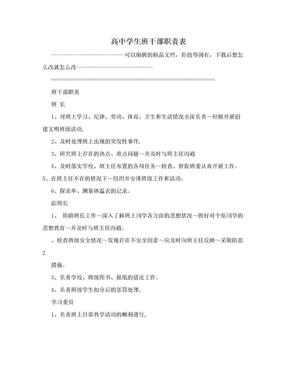 高中学生班干部职责表.doc