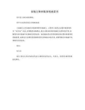 市场主体审批事项承诺书-茌平工商局工商注册.doc