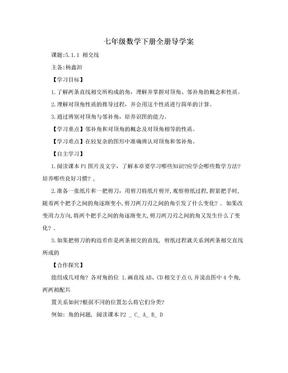 七年级数学下册全册导学案.doc