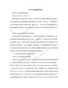 中小企业融资渠道.doc