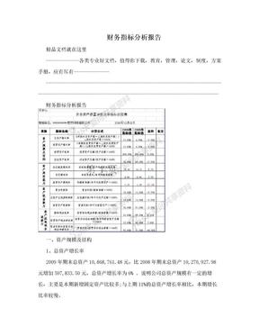 财务指标分析报告.doc