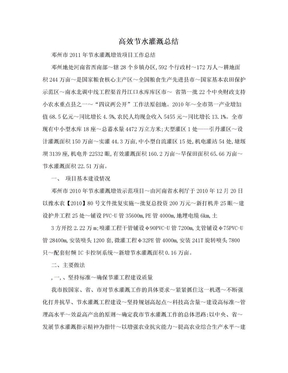 高效节水灌溉总结.doc