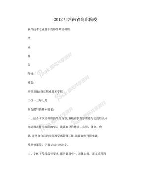 省高职院校骨干教师暑期培训结业报告.doc
