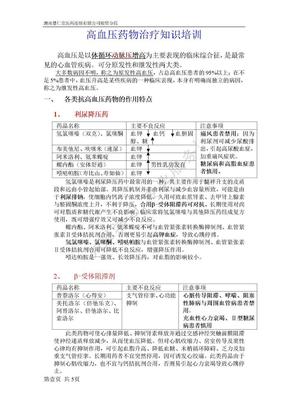 高血压药物治疗知识培训.doc