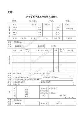 高等学校学生及家庭情况调查表&家庭经济困难学生认定申请表.doc