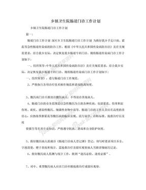乡镇卫生院肠道门诊工作计划.doc