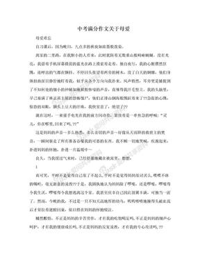 中考满分作文关于母爱.doc
