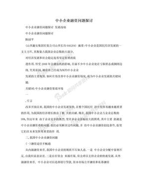 中小企业融资问题探讨.doc