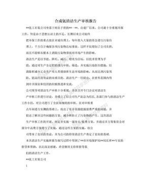 合成氨清洁生产审核报告.doc