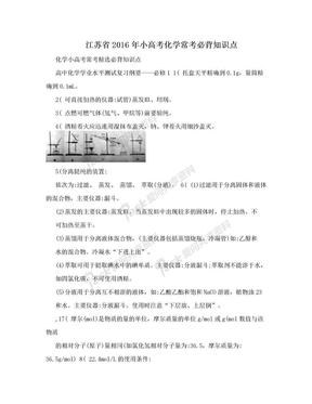 江苏省2016年小高考化学常考必背知识点.doc