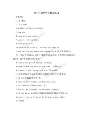 初中宾语从句讲解及练习.doc