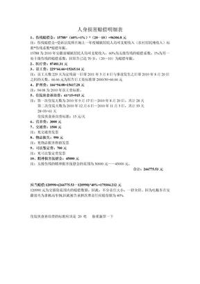 人身损害赔偿明细表.doc