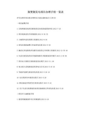 圾焚烧发电项目办理手续一览表.doc