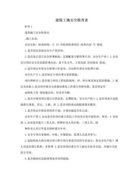 建筑工地安全检查表.doc