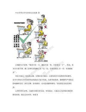 中小学男女学生坐姿礼仪标准 图.doc
