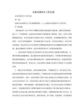 企业内部审计工作计划.doc