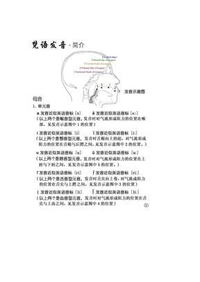 梵文课本梵语学习梵文发音资料--元音和子音梵文发音资料梵文发音.docx