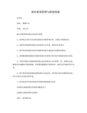 医疗质量持续改进记录本.doc