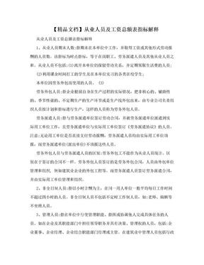 【精品文档】从业人员及工资总额表指标解释.doc