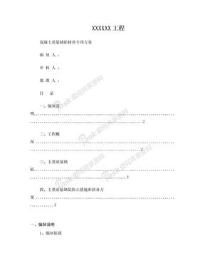 砼质量缺陷修补专项施工方案.doc