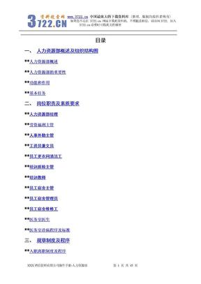 4355-XXX酒店管理有限公司操作手册-人力资源部.doc