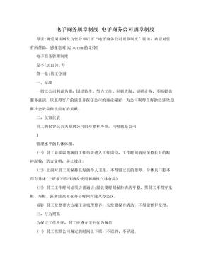 电子商务规章制度 电子商务公司规章制度.doc