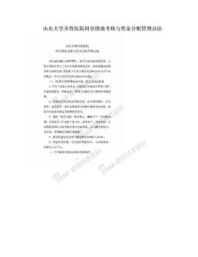 山东大学齐鲁医院科室绩效考核与奖金分配管理办法.doc