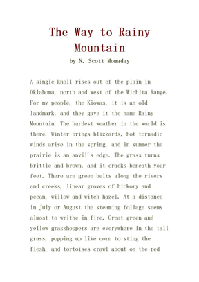 The Way to Rainy Mountain by N.Scott Momaday.doc