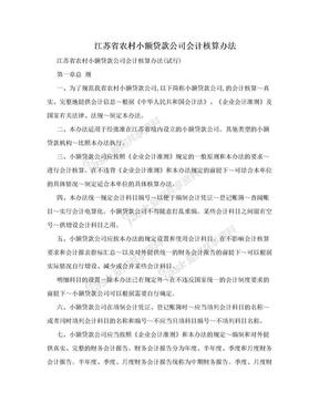 江苏省农村小额贷款公司会计核算办法.doc
