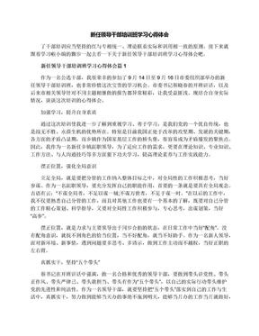 新任领导干部培训班学习心得体会.docx